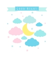 Childish background with moon clouds and stars vector image vector image