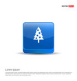 christmas tree icon - 3d blue button vector image