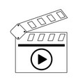 cinema clapboard video symbol in black and white vector image vector image