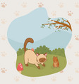 cute little kitty and guinea pig mascots vector image