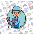 employee holding wrench screw mechanical car vector image