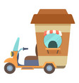 fast food trolley motorbike with coffee cup icon vector image vector image