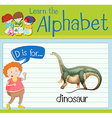 Flashcard letter D is for dinosaur vector image vector image