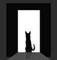 german shepard at the door silhouette vector image