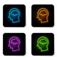 glowing neon head silhouette with cloud icon vector image vector image