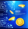 golden bitcoins over blue circuit background vector image vector image