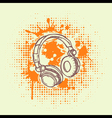 Grunge Headphones vector image