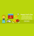 happy fools day banner horizontal concept vector image