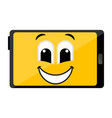 isolated happy tablet emote vector image vector image