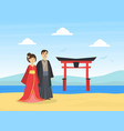 japanese couple wearing national traditional vector image