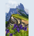 lavender and mountains hills vector image vector image