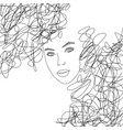 line art abstract beautiful female face 6 vector image