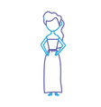 line happy bride with hairstyle and elegant gown vector image vector image