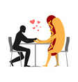 Lover in coffee room Man and hot dog is sitting at vector image vector image