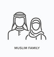 muslim family flat line icon outline vector image
