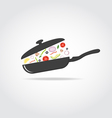 Pan with vegetables and cap vector image