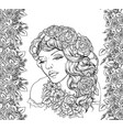 pretty elegant boho girl with floral wreath vector image vector image