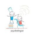 psychologist is on a stack of books and produces vector image vector image