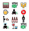 pub drinking alcohol beer belly icons set vector image vector image