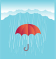 rain clouds with red umbrella spring sky vector image