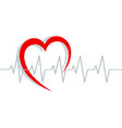 red heart silhouette and cardiogram on white vector image vector image