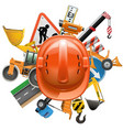 Road construction concept with helmet vector image