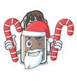 santa with candy milkshake mascot cartoon style vector image vector image