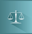 scales of justice icon with shadow on a blue vector image