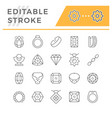 set editable stroke line icons jewelry vector image vector image