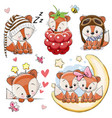 set of cartoon foxes on a white background vector image vector image