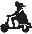 silhouette couple over a motorcycle vector image vector image