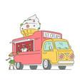 sketch ice cream van in vintage style vector image
