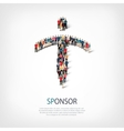 sponsor people sign 3d vector image