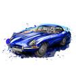 sports retro car jaguar e-type blue vector image