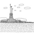 statue liberty on island in nyc harbor vector image