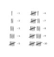 tally marks counting signs set 1-10 vector image vector image