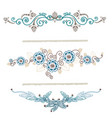 vintage decoration pages blue vector image vector image