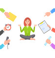 work circle and meditating young woman poster vector image