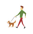 young man walking with his dogs cute pets with vector image