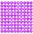 100 development icons set purple vector image vector image