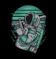 astronaut handling gun hand drawingshirt designs vector image