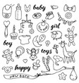 baby doodle and lettering set vector image