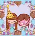 boy and girl with party costume decoration vector image