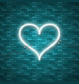 bright heart retro blue neon heart sign vector image