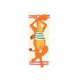 camel sunbathing on the beach cute animal cartoon vector image vector image