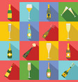 champagne bottle glass icons set flat style vector image vector image