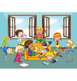 Children doing activities in the living room vector image vector image