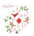 christmas background with poinsettia vector image