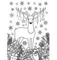 christmas deer winter holiday outline coloring vector image