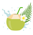 coconut juice with plumeria flower vector image vector image